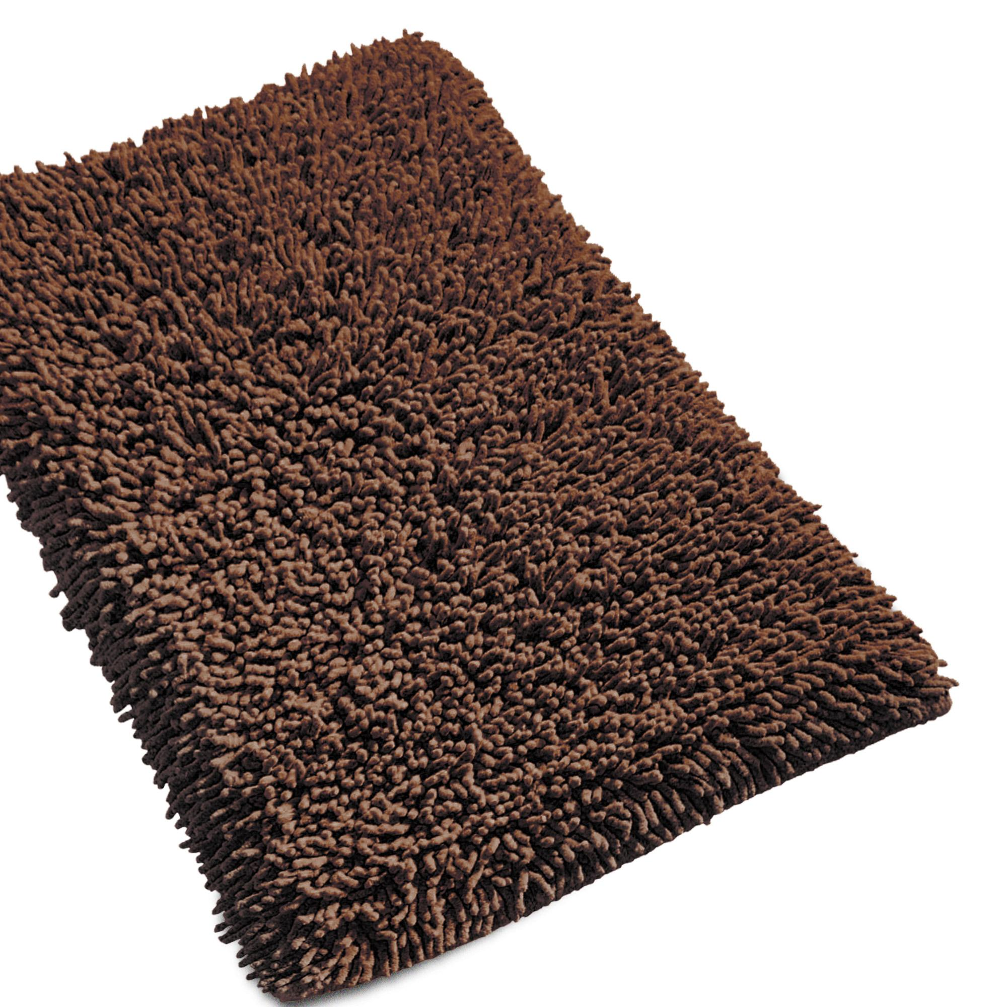 tapis de bain 50x80cm uni coton chenille marron linnea. Black Bedroom Furniture Sets. Home Design Ideas
