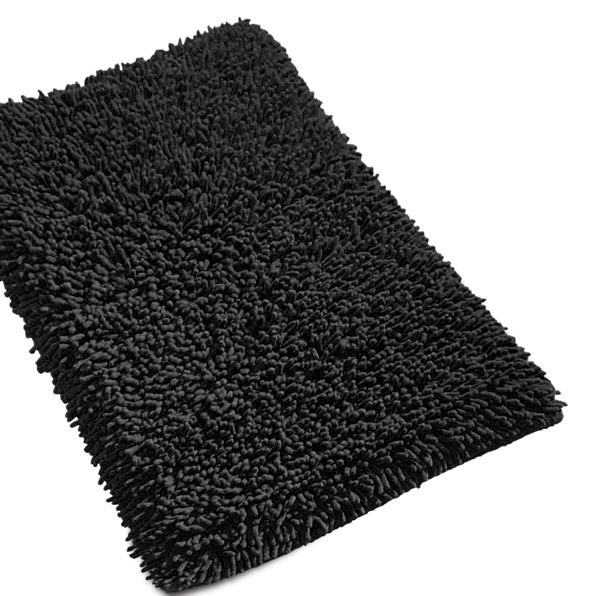 tapis de bain 50x80cm uni coton chenille noir linnea linge de maison et. Black Bedroom Furniture Sets. Home Design Ideas