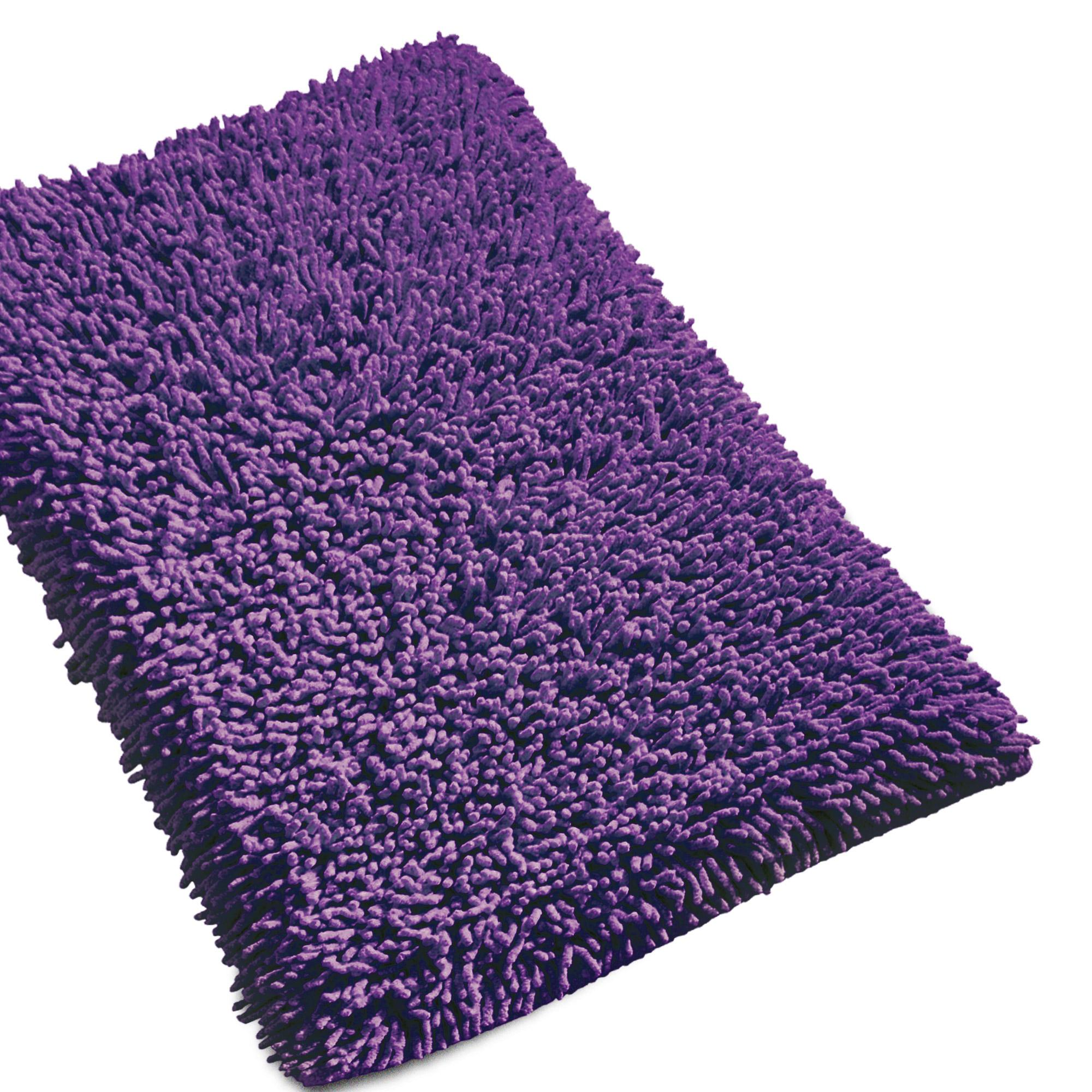 tapis de bain 50x80cm uni coton chenille violet linnea vente de linge de maison. Black Bedroom Furniture Sets. Home Design Ideas