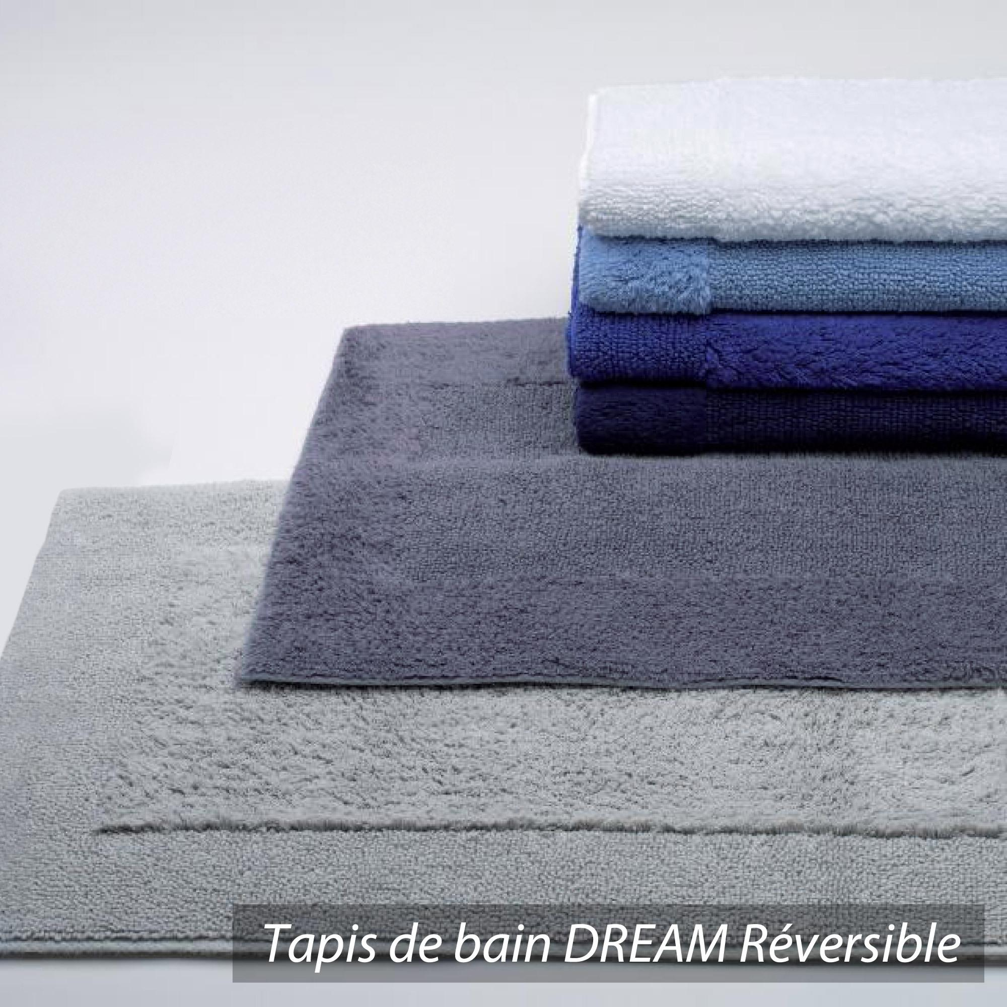 tapis de bain 70x120cm coton uni dream bleu marine linnea linge de maison et. Black Bedroom Furniture Sets. Home Design Ideas