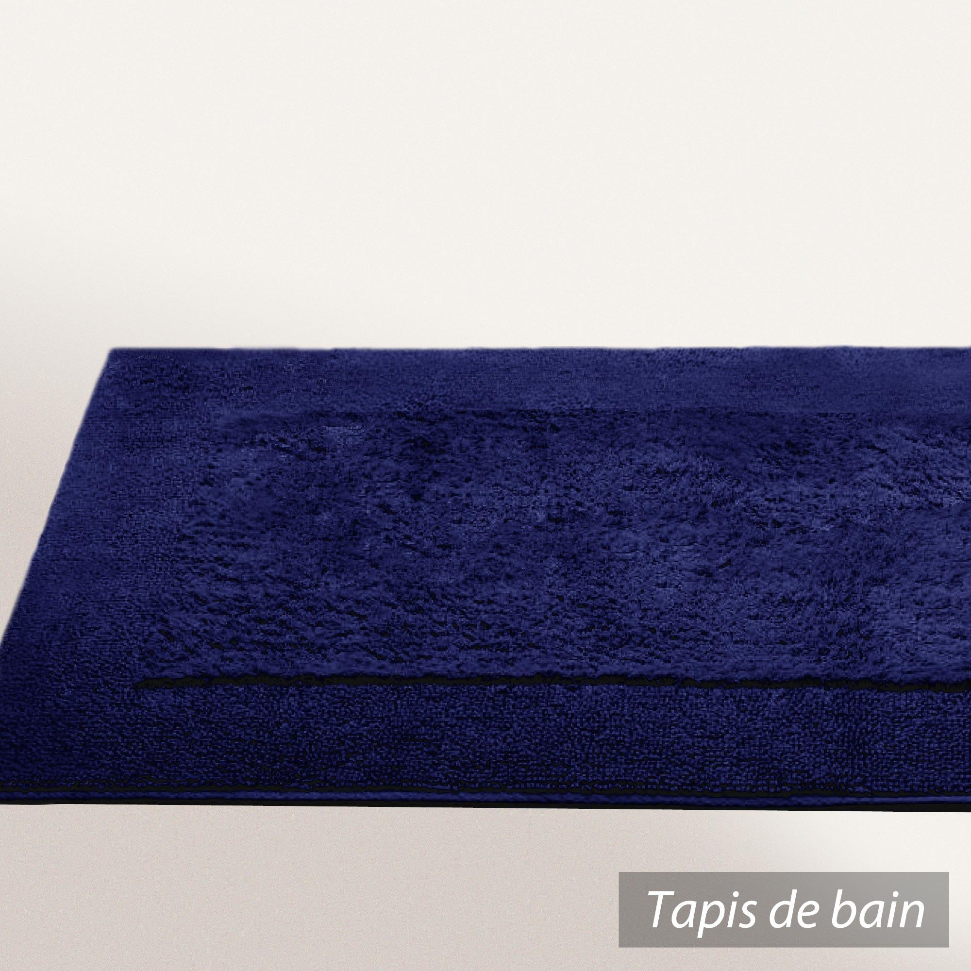 tapis de bain 70x120cm coton uni dream bleu marine. Black Bedroom Furniture Sets. Home Design Ideas
