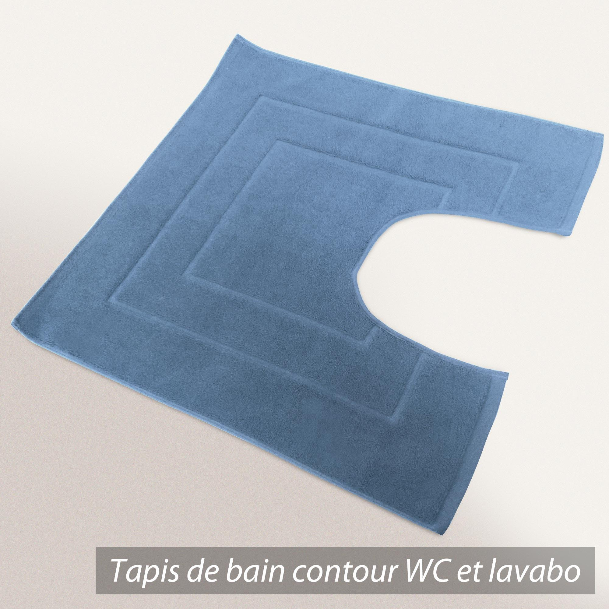 tapis de bain contour wc 60x60cm uni coton flair bleu. Black Bedroom Furniture Sets. Home Design Ideas