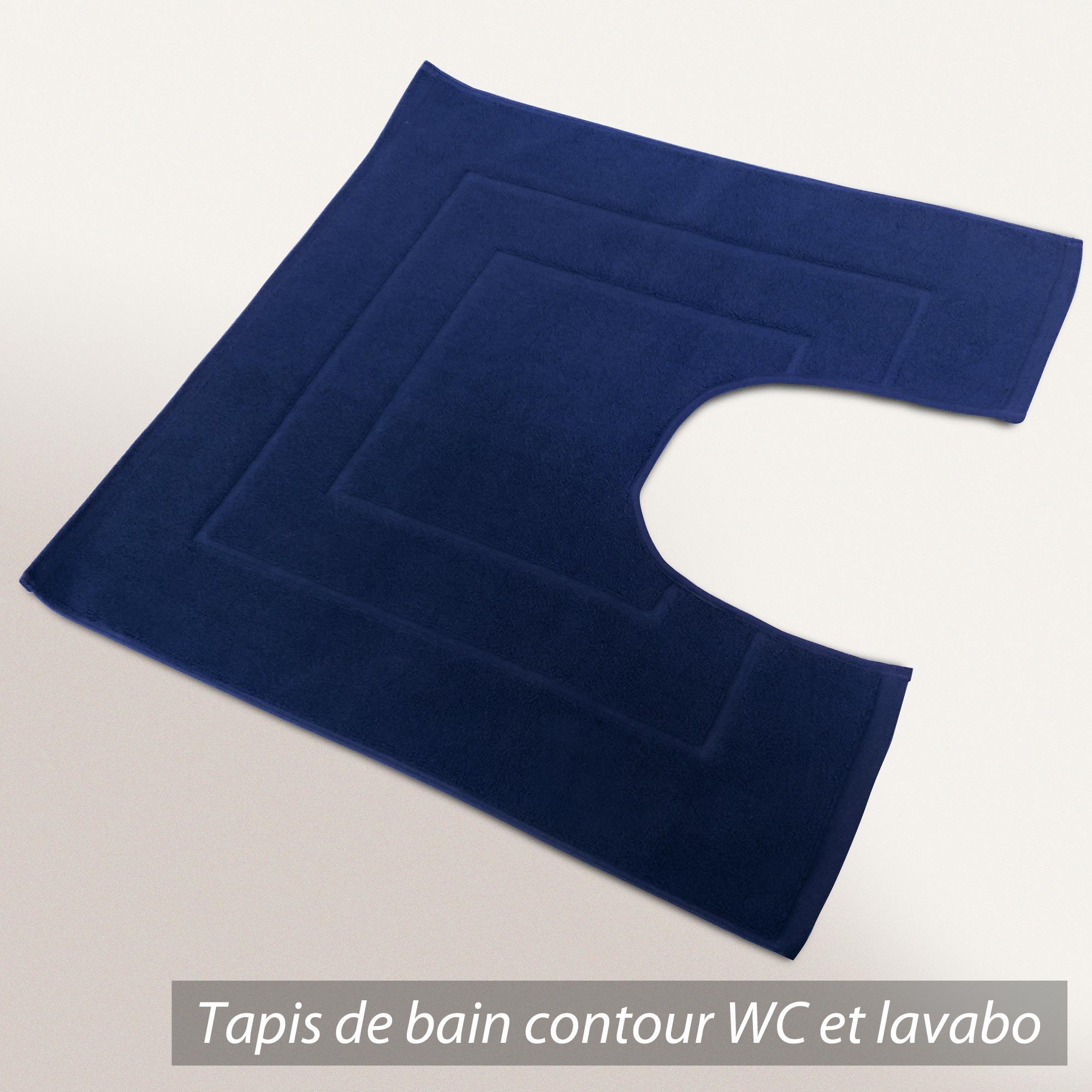 tapis de bain contour wc 60x60cm uni coton flair bleu marine linnea vente de linge de maison. Black Bedroom Furniture Sets. Home Design Ideas