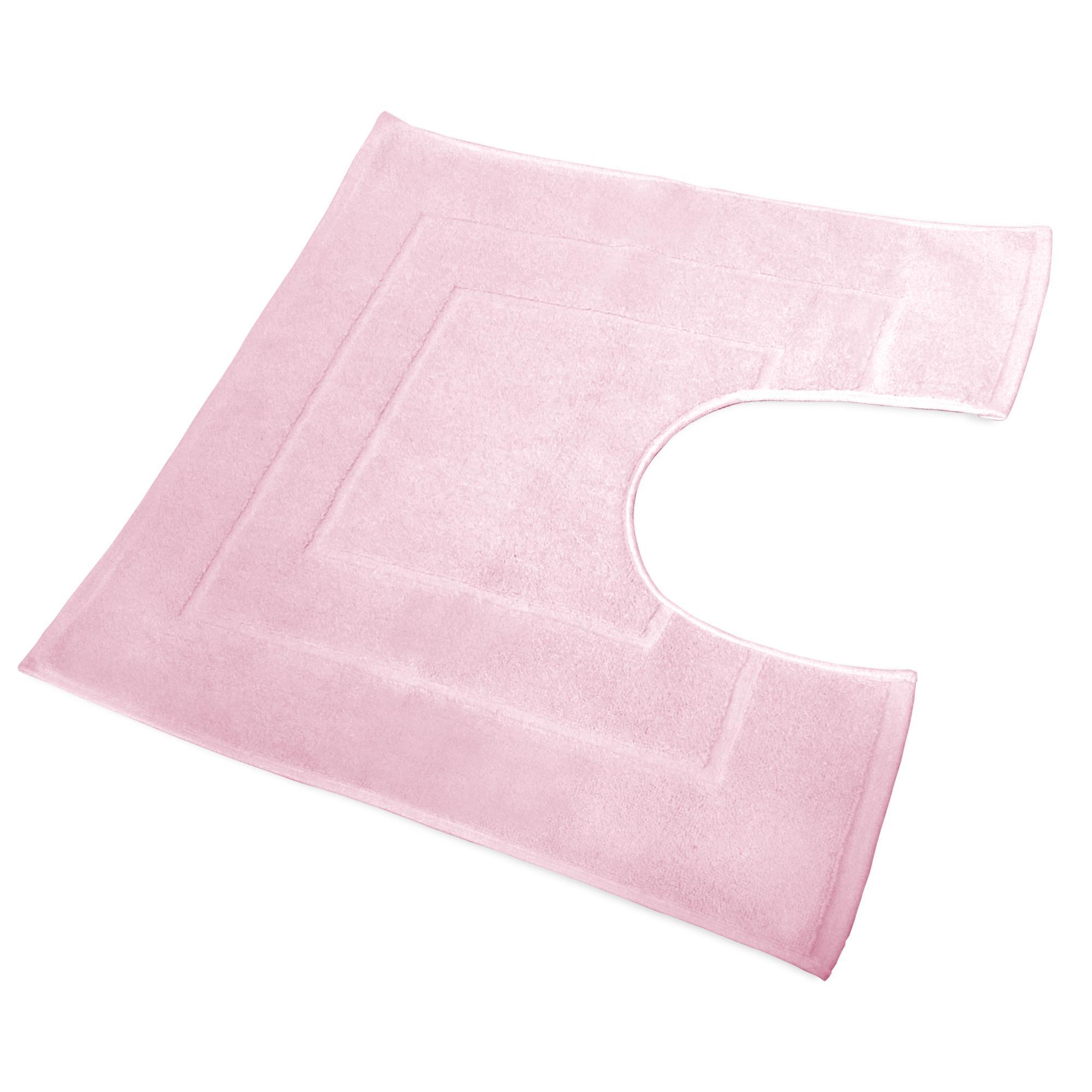 Tapis De Bain Contour Wc 60x60cm Uni Coton Flair Rose Linnea Vente