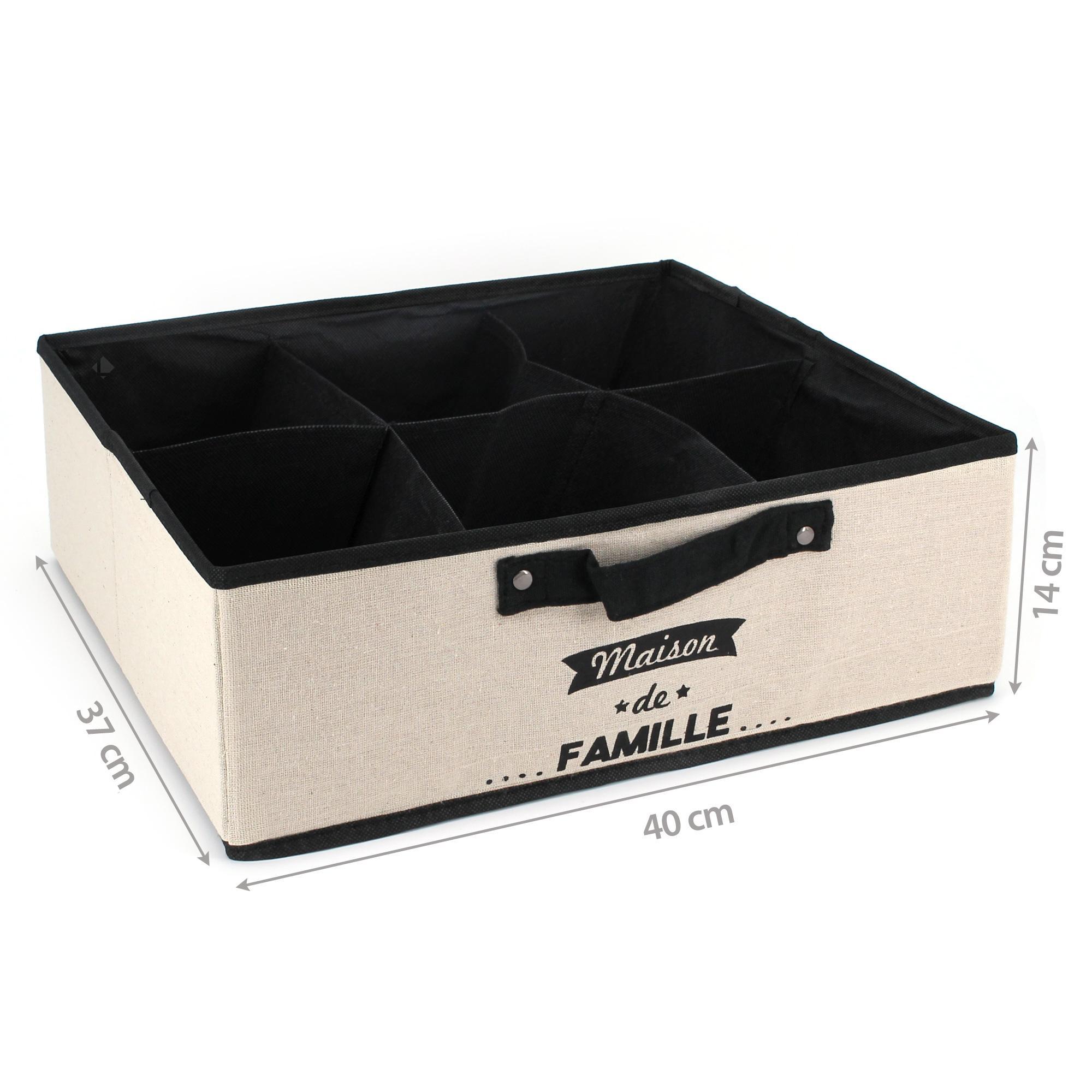 boite de rangement 6 compartiments avec rev tement non. Black Bedroom Furniture Sets. Home Design Ideas