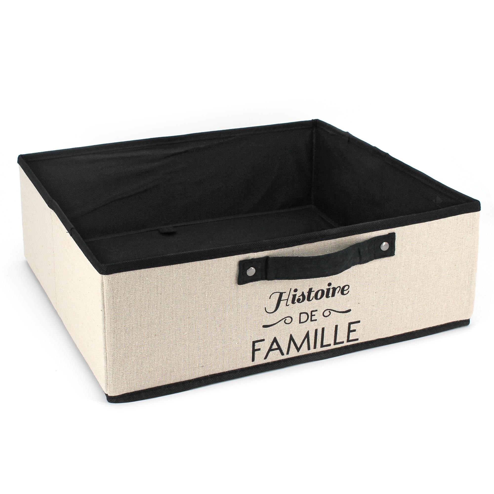 Boite de rangement en carton avec revêtement non tissé 20L beige Histoire de famille | Linnea ...
