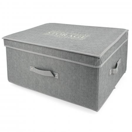 Boite de rangement DELUXE cartonnée avec couvercle 50L gris