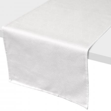Chemin De Table 45x150 Cm Jacquard 100 Coton Cube Blanc Linnea