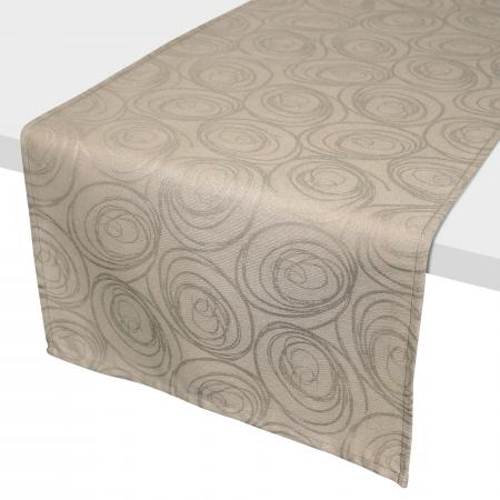 Chemin de table 45x150 cm Jacquard 100% coton SPIRALE taupe