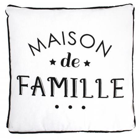 Coussin 40X40 cm EN FAMILLE noir/blanc Maison