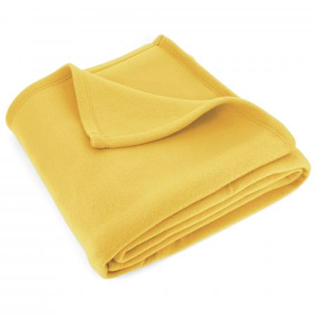 Couverture polaire 180x220cm Isba, Jaune pollen - 100% Polyester 320 g/m2, traité non-feu
