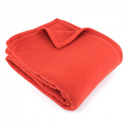 Couverture polaire 180x220 cm 100% Polyester 350 g/m2 TEDDY Rouge Terracotta