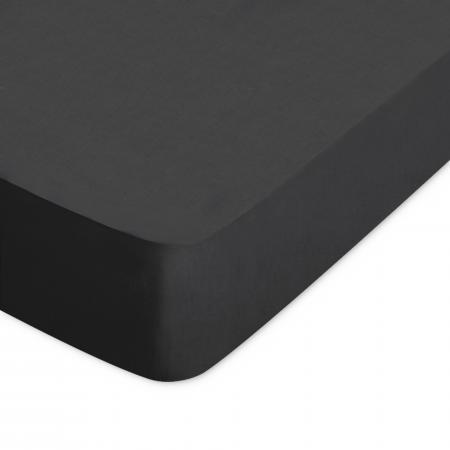 Drap housse uni 90x210 cm 100% coton ALTO Noir de lune
