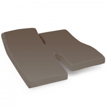 Drap housse relaxation uni 2x90x200 cm 100% coton ALTO Muscade - TPR Tête et pied relevable