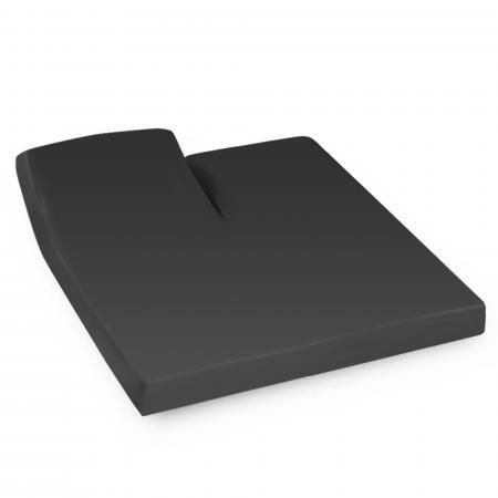 Drap housse relaxation uni 2x80x200 cm 100% coton ALTO Noir de lune - TR Tête relevable uniquement