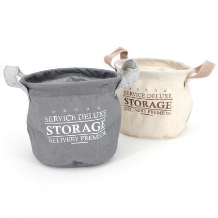 Lot de 2 paniers de rangement 3L beige et gris avec anses Storage