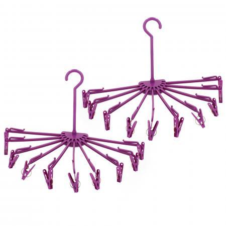Lot de 2 séchoirs à linge pliables à suspendre avec 10 pinces en plastique violet