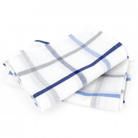 Lot De 2 Torchons De Cuisine Toile 50x70 Cm Squares Lin Bleu Coton