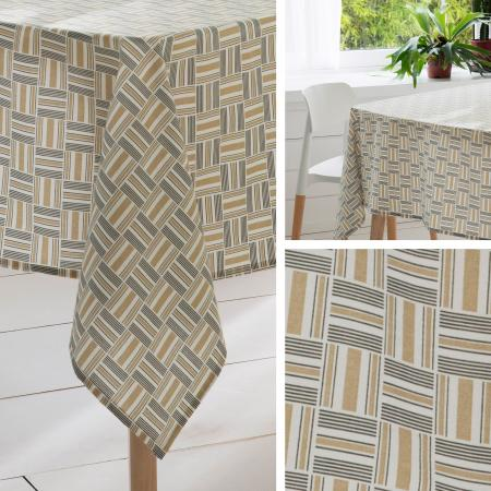 Nappe carrée 170x170 cm GRAPHIC beige 100% coton + enduction acrylique