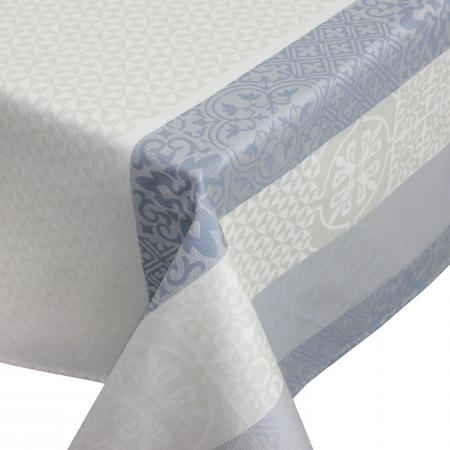 Nappe rectangle 150x250 cm Jacquard 100% coton + enduction acrylique MOSAIC PERLE Gris