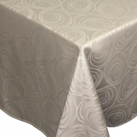Nappe rectangle 150x350 cm Jacquard 100% coton SPIRALE taupe