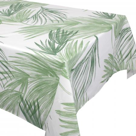 Nappe rectangle 160x250 cm OASIS vert 100% coton + enduction acrylique