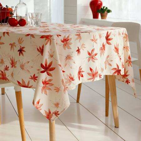 Nappe rectangle 160x300 cm 100% coton enduction acrylique ERABLE ecru