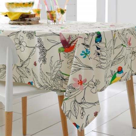 Nappe rectangle 160x350 cm 100% coton enduction acrylique COLIBRI ecru