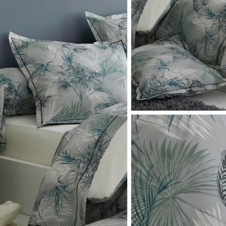 parure de lit 200x200 cm percale 100 coton tropical gris. Black Bedroom Furniture Sets. Home Design Ideas