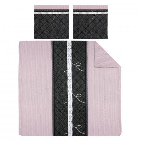 Parure de lit 240x220 cm 100% coton GLAMOUR Rose 3 pièces