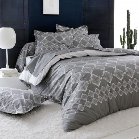 coton dint/érieur parure 3 pi/èces 260x240 cm solo gris