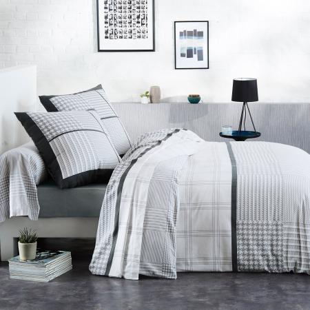Parure de lit 140x200 cm flanelle de coton DANDY gris 2 pièces   Linnea, linge de maison et