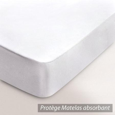 Protège matelas 100x190 cm ANTONIN - Molleton absorbant, traité anti-acariens - Grand bonnet 50cm