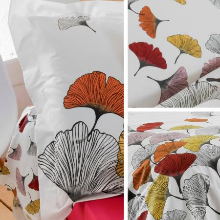 Taie d'oreiller 70x50 cm Percale pur coton GINKGO Rose
