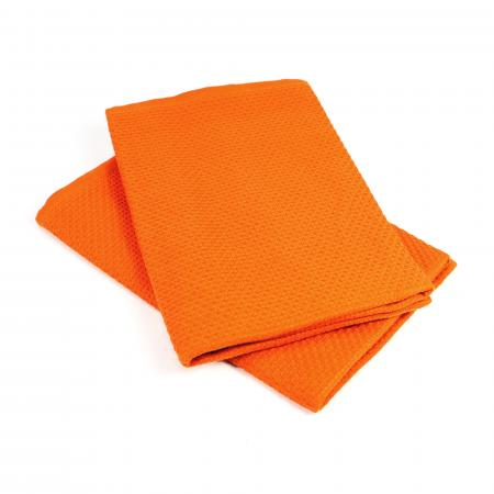 Lot de 2 torchons de cuisine 50x50 cm nid d'abeille PURE KITCHEN WAFFLE - Orange