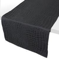 Chemin de table 45x150 cm Jacquard 100% polyester LOUNGE noir
