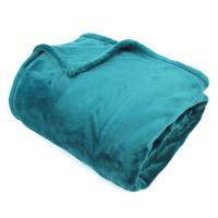 Couverture polaire 220x240 cm Microfibre 100% Polyester 320 g/m2 VELVET Bleu Canard