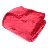 Couverture polaire 220x240 cm Microfibre 100% Polyester 320 g/m2 VELVET Rouge