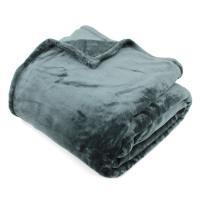Couverture polaire 240x260 cm Microfibre 100% Polyester 320 g/m2 VELVET Gris Acier