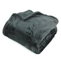 Couverture polaire 240x260 cm Microfibre 100% Polyester 320 g/m2 VELVET Noir