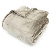 Couverture polaire 240x260 cm Microfibre 100% Polyester 320 g/m2 VELVET Marron Taupe
