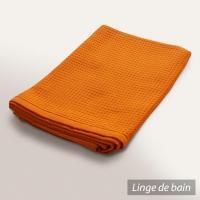 Drap de bain 90x160 cm nid d'abeille PURE WAFFLE 300 g/m² orange butane