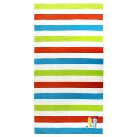 Drap de plage 100x180 cm éponge velours 380 g/m2 ANCONA Arc en ciel tongs Multicolore
