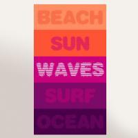 Drap de plage 100x180 cm éponge velours 380 g/m2 BELI Beach sun waves surf ocean Violet