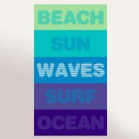 Drap de plage 100x180 cm éponge velours 380 g/m2 KALI Beach sun waves surf ocean Bleu