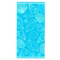 Drap de plage 75x150 cm éponge velours 480 g/m2 BONELLI Coquillages Bleu