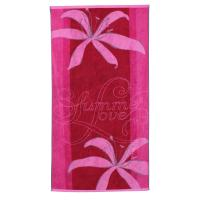 Drap de plage 75x150 cm éponge velours 480 g/m² CARLINO Summer love Rose
