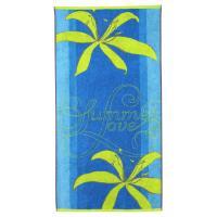 Drap de plage 75x150 cm éponge velours 480 g/m² DUINO Summer love Bleu