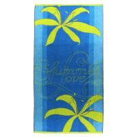 Drap de plage 75x150 cm éponge velours 480 g/m2 DUINO Summer love Bleu