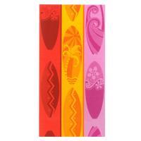 Drap de plage 75x150 cm éponge velours 480 g/m2 TORRETTE Palmier tricolore Rose